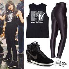 Becky G: MTV Sleeveless T-Shirt Outfit