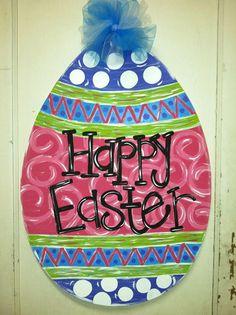 aDOORable Easter Egg Door Hanger  by jacksle on Etsy, $35.00