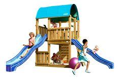 JUNGLE GYM Spielturm FARM Kletterturm mit Rutsche Spielhaus Baumhaus Leiter Holz