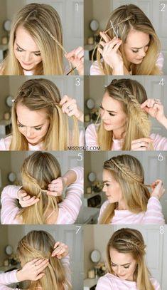 Hair Styles For School 12 super easy hairstyles for those lazy days – steps … – … Super Easy Hairstyles, Braided Hairstyles Tutorials, Cool Hairstyles, Hairstyle Ideas, Braid Tutorials, Easy Ponytail Hairstyles, Medium Length Hair Braids, Straight Wedding Hairstyles, Hair Updo Easy