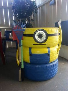 Minion tyres Could double as garden tool shed caddy
