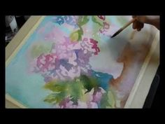 ▶ Watercolor painting - hydrangea.wmv - YouTube