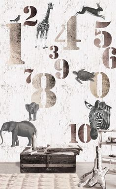 BE Stoer oz3171 jungle olifant giraf zebra schildpad cijfers bruin grijs