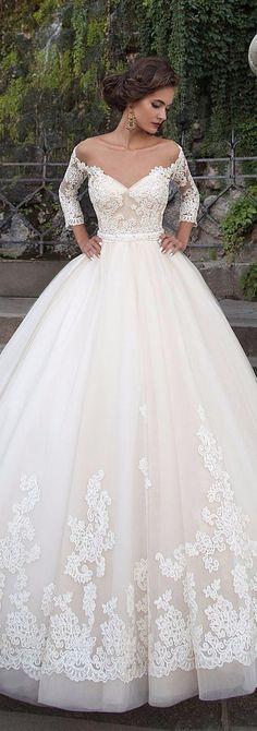 Classy 3/4 sleeve lace wedding dress