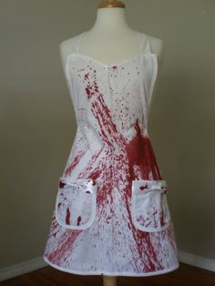 Dexter inspired bloody zombie housewife apron by HauteMessThreads, $45.00 #hautemessthreads #HMTgiveaway