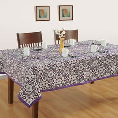 Buy purple crush table covers, dining room table covers online having intricate mandala art patterns at best price from saavra.com. Free Shipping Available.