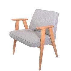 Fotel 366 składa się z części tapicerowanej, siedziska zintegrowanego z oparciem, oraz drewnianych, łączących w…