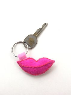 lips keychain sexy keychain smile keychain embroidered by linzb