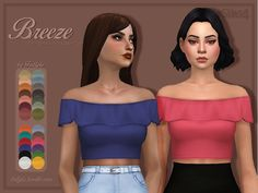 I am a sucker for crop tops, and summer being closer and closer day by day, I brought you a set of off shoulder crop tops. Found in TSR Category 'Sims 4 Female Everyday'