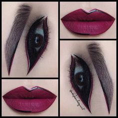 Beet It ️️ Velvetine on lips and eyes by @limecrimemakeup .. Trooper Tattoo Liner by @thekatvond .. Kylie Mink Lashes by @lashesbylena