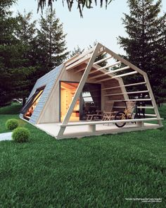 Tiny House Cabin, Tiny House Living, Cabin Design, Small House Design, Bar Design, A Frame House, Backyard, Patio, House And Home Magazine