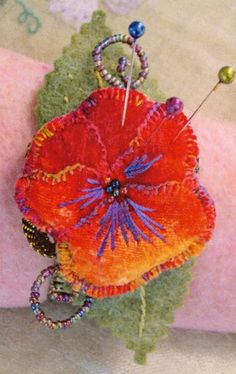 Needle Felted Pin Pansy