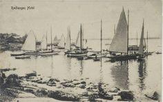 Klargjøring for regatta ved Rødtangen hotell. Prospekttkortet er poststemplet 3.juli 1912