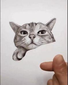 Art Drawings Beautiful, Art Drawings Sketches Simple, Pencil Art Drawings, Dog Pencil Drawing, Drawing Of A Cat, Cat Cartoon Drawing, Simple Cat Drawing, Raccoon Drawing, Graphite Drawings