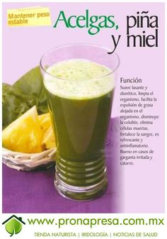 Jugo Natural de Acelgas, Piña y Miel: Mantener peso estable. #ConsejosDeSalud #TipsSaludables #Salud