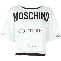 Moschino Moschino couture print T-shirt (€635) ❤ liked on Polyvore featuring tops, t-shirts, white, white tee, boatneck tee, crop top, white short sleeve t shirt and boat neck tee