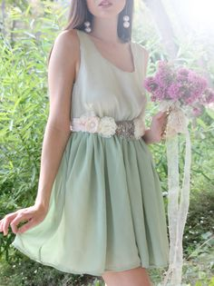 Sage Green Country Chic Bridesmaid Dress by whitecollections, $59.00