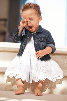 perk up! it's their first party. pair a white eyelet dress with the cutest little denim jacket for soirée-ready celebrating. give #littlefirsts from babyGap for every little moment in their lives.