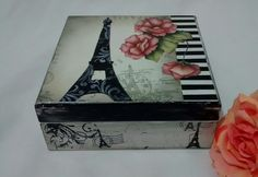 Caixa Porta Jóias Paris com Flores