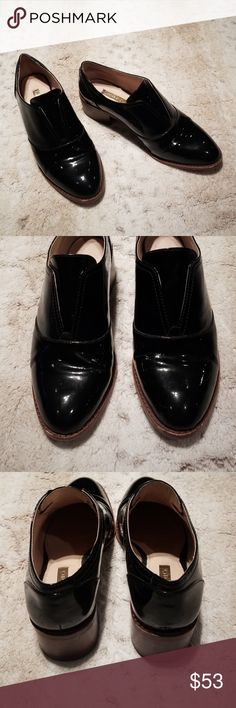 e785ee8ae98 Louise et Cie Freyer Patent Leather Heeled Loafers 1 4 inch platform 1.5  inch stacked