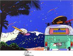 Van and Windsurf ~ by Eizin Suzuki  sailboarding, VW camper