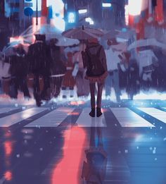 Ever feel like this? More wonderful #digitalart by Atey Ghailan from  her daily #sketch series