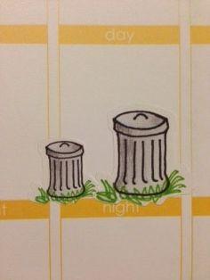 Trash/recycle stickers for Erin Condren Life Planner Filofax Gillio on Etsy, $4.75