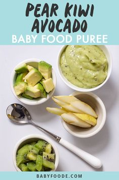 This Avocado, Pear + Kiwi Baby Food Puree is a sweet puree that has a fun citrusy twist. Loaded with fiber, potassium, folate vitamin A and C this puree is as healthy as it is delicious. Great for baby 6 months and older, stage 2 baby food. Avocado Baby Puree, Avocado Baby Food, Healthy Baby Food, Avocado Pear, Cucumber Baby Food Recipe, Healthy Summer, Baby Puree Recipes, Pureed Food Recipes, Baby Food Recipes