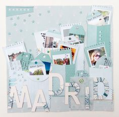 Scrapbook layout about a journey to Madrid Travel Scrapbook Pages, Scrapbook Layouts, Scrapbooking, Layout Inspiration, Mini Albums, Madrid, Photo Wall, Paper Cranes, Frame