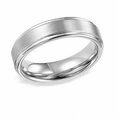 Zales Mens 6.0mm Center Groove Wedding Band in 10K White Gold LuHhX