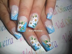 Nails Trendy Nail Art, Cute Nail Art, Cute Spring Nails, Summer Nails, Daisy Nails, Sparkle Nails, Flower Nail Art, Hot Nails, Artificial Nails