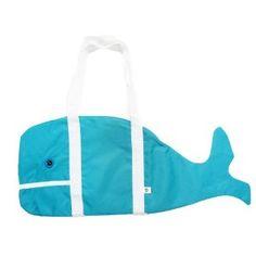 blue whale beach tote bag