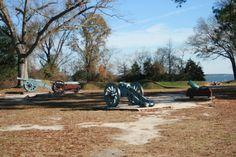 Canons at Yorktown Battlefield in Yorktown, Virginia.