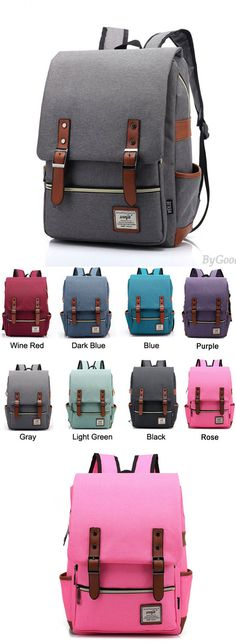 WHich color do you like?  Retro Large Travel Backpack Leisure Leather Canvas Backpack Schoolbag for big sale ! #backpack #school #bag #college #student #women #canvas #rucksack