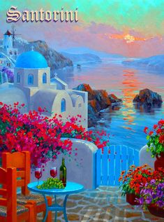 Evening& Allure Heavily embellished and textured Giclee on Canvas with signature finished edges by Mikki Senkarik The image dimensions are and the outside dimensions to include the artists signature finished edge are This painti Greece Painting, Kunst Poster, Greek Isles, Santorini Greece, Crete Greece, Athens Greece, Painting Inspiration, Landscape Paintings, Watercolor Paintings
