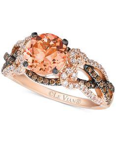 Le Vian Peach Morganite (1-3/8 ct. t.w.) and Diamond (5/8 ct. t.w.) Ring in 14k Rose Gold
