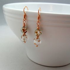 7f4362ceb Venetian Murano Glass Rose Gold Vermeil Earrings £15.00 Small Gift Boxes,  Glass Earrings,. Folksy