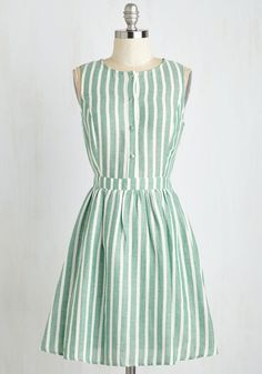 Barnhouse Bash Dress - Sundress, Green, White, Stripes, Print, Buttons, Casual, Fit & Flare, Sleeveless, Summer, Woven, Good, Mid-length