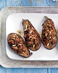 Stuffed Eggplant with Lamb and Pine Nuts Recipe from Food & Wine Sept 2012 issue - I can't WAIT to make this recipe tomorrow!