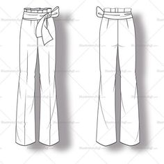 Women's flared trouser pant fashion flat vector template with belt that ties into a bow in the front.