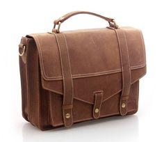 Vintage Handmade Genuine Crazy Horse Leather Briefcase Laptop Messenger Bag in Old Brown