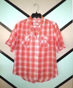Pink and Orange Plaid Shirt by DCXSpringfield on Etsy, $22.00
