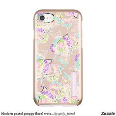 Modern pastel preppy floral watercolor pattern incipio DualPro shine iPhone 7 case
