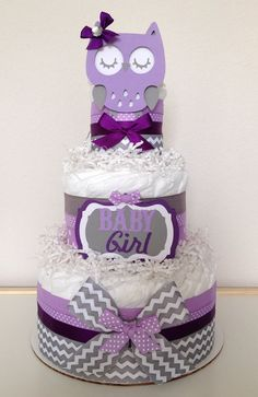 Chevron Purple Lavender and Gray Owl Diaper Cake Baby Shower Centerpiece