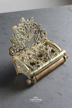 New Ornate Victorian Brass Toilet Roll Holder