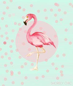 Mint and Coral Flamingo Fun Print от PureJoyPaperie на Etsy