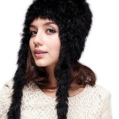 Women Excellent Rabbit Fur Hat Long Braids Ear Protect Winter Cap Black *** Check this awesome product by going to the link at the image.