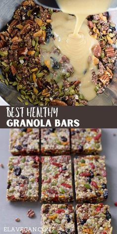 Healthy Snack Bars, Vegan Snacks, Healthy Baking, Sugar Free Granola, Gluten Free Granola, Vegan Breakfast Recipes, Delicious Vegan Recipes, Vegan Granola Bars, Vegan Bar