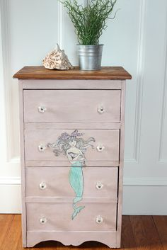 Mermaid Dresser finished with Chalk Paint® decorative paint by Annie Sloan | By Finding Silver Pennies