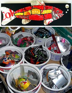 Colorful, eye-catching soda can designs are repurposed into artist Jill Helms' recycled mosaic artwork.